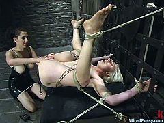 This blonde's pussy will be left all wet with all the toying and torture it takes as well as the anal fun included in this BDSM session.