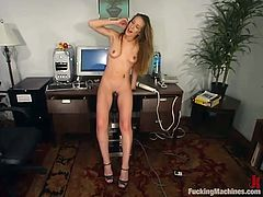 This sexy blond babe has her own private office in the company. She locks from the inside and takes that fucking machine for some pleasures.