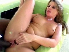 Talented Summer Storm has some meat on her bones, more to grab a hold of. When she turns around you get smacked in the face by her big round bubble butt, it is definitely her best asset. She loves to have a big black cock to play with and stretch her pussy wide open. Sledge Hammer is so turned on by her big ass that he rips open her fishnet stocking to have a taste of her warm center. Like the pro she is, she deep throats his massive schlong before climbing on top to let him plunge into the depths of her juicy twat.