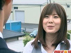 Yuma Asami is a slutty Japanese who hits on a guy from the bus. He fucks her rough with everyone around.