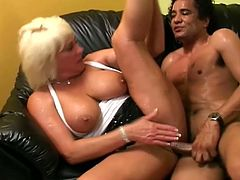 A spicy cock is what this filthy granny wants. That Mexican dude whoops it out for her and she blows him. Then penetration makes her sigh!