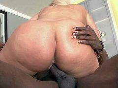 Blonde Julie Cash is a BBW with nice thick ass. She shows off her nice body as she gets her meaty pussy drilled by hard black dick. Watch her take black guys nice sausage in her fuck hole.