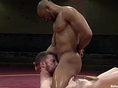 Sebastian Keys and Troy Sparks fell in love with each other during the fight. So, after the fight White guy sucks a cock and gets fucked by the Black dude.