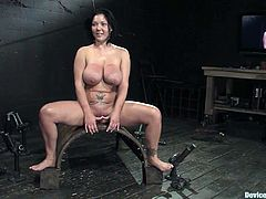 Big-breasted brunette Claire Dames allows some guy to tie her up in a cellar. The dude plays with the bitch's tits and then fingers her snatch and fucks it with a toy.