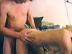 Get a load of this amateur video where a horny blonde mature masturbates with a dildo before sucking on this guy's big cock and being nailed him on a couch.