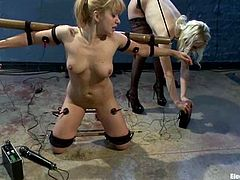 Lea Lexis the elctro slut gets tied up by hot Lorelei Lee. Later on Lea gets stimulated with electricity.
