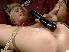 She's such a sweet angel, golden hair, pretty face and thighs, that make you drool for her pussy. Well, this blonde may look innoncent, but she was a fucking whore and because of that, Lea is about to punish her. Lea tied her up, poured hot wax on her tits, rubbed her pussy with a vibrator and much more!