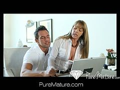 Horny housewife MILF Shayla Laveaux was having some laptop issues so she called a guy in to take a look, but once those big tits of hers popped out they headed right to the bedroom to fuck the afternoon away in this Pure Mature update called Tech Seduction!