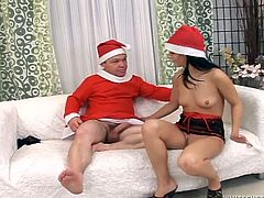 Guess what miss Liss got for X-mas? She was a very good girl, so the midget Santa brought her a special present. He licked her pussy and then, gave this slut her gift, a cock in the mouth. Liss enjoined her gift and sucked it hard. Well now, maybe Santa has even more presents for her, like a few loads of cum!