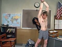 Cole Conners is the naughty teacher dominating a guy in this video, torturing his cock and strapon fucking his ass in this femdom BDSM vid.