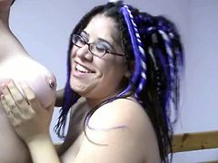 Watch this hot chick with her puple hair getting her wet pussy rubbed and then licked by her girl friend in her bedroom in Chick Pass Network sex clips.