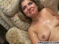 2 hot amateur Milf homemade hardcore group sex action ! Anal toy, blowjob, fuck and cumshot in mouth ! Naughty !