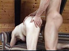 Chubby dark-haired granny Valda is playing dirty games with some man indoors. They fuck in cowgirl, missionary and side-by-side position and also do it doggy style in the end.
