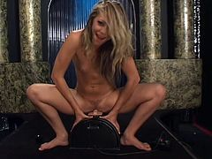 Beautiful slim blonde Leah Luv strips and demonstrates her awesome body. Then she favours herself with fingering and satisfies herself with the help of a fucking machine.