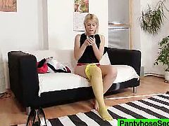 In anticipation of a hot fuck, cuddly blond babe puts on pantyhose on her naked tights. As soon as her lover arrives, she also orders him to wear pantyhose in steamy sex play by Pantyhose Secret.