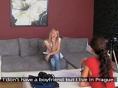 Lovely blonde babe gets interviewed by a brunette chick. The blondie takes her clothes off and gets fingered. Later on she also gets her vagina toyed with a strap-on.