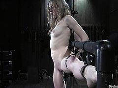 Damon Pierce is having fun with salacious blonde Sarah Jane Ceylon. He ties the chick up and rubs her big clit till she cums.