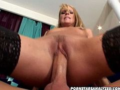 Pornstars Analyzed brings you an exciting free porn video where you can see how the nasty Samantha Ryan rides a hard cock into heaven wearing black stockings.