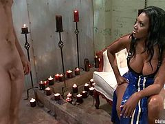 Ned Mayhem is having BDSM fun with curvy ebony princess Nyomi Banxxx. Nyomi ties and beats the stud and then drills his chocolate eye with a strapon doggy style.