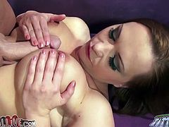 Nasty brown-haired milf Katja Kassin is having fun with some dude indoors. She favours the man with a deepthroat blowjob and then gets her coochie licked and pounded in missionary and other positions.