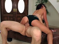 Black haired young slender Layla Rivera with great oral skills and slim sexy body in black booty shorts gives head to Danny Wild and makes him fuck her to loud orgasm.