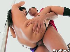 Stunning pornstar babe Asa Akira is ready for action again. She gave his cock some nice deepthroat and took it deep inside her pussy for a huge cumshot on her ass.