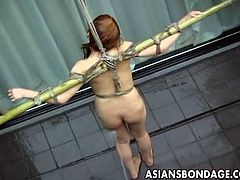This horny Japanese chick is ready for some serious bdsm games. She is all tied up outdoors and tortured with water to make her feel miserable and devastated.