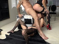 Superb Mira Sunset and Lyen Parker give double blowjob to big cocked guy. Then these babes get their hot pussies licked and fucked rough in amazing threesome video.