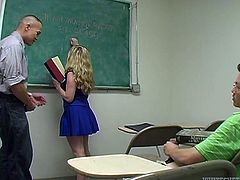 Watch this blondie getting her wet and tight pussy fucked by her teacher in the classroom in Fame Digital sex clips.