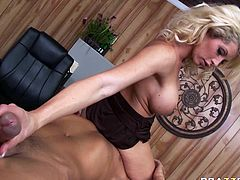 Provocative porn model with big boobs sucks massive dick deepthroat having passionate sex in the office. She later got on top of boss' face getting her pussy licked actively.