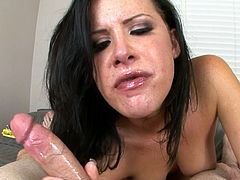 Brunette beauty throats cock like never before during rough POV blowjob session