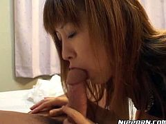 Alluring girl wraps small dick with her tempting mouth lips. She performs awesome cock sucking skills. Damn, this professional cock sucker deserves to get real big dick in her mouth.