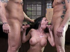 Sexy ass Veronica Avluv makes a cock-heavy threesome worth watching! Deepthroat those meaty dicks and take a double load to the face!
