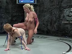 Kylie Worthy a.k.a. The Terminator and Madison a.k.a. The Butcher fight in a Ultimate Surrender battle. Blonde girl loses a fight, so she licks a pussy and gets toyed from behind.