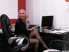 These two office sluts are about to get into some lesbian action. Phoenix Marie bends Missy Martinez over the couch in her office to eat her pussy from behind and give an amazing rimjob. She moans in pleasure as her butthole is licked.