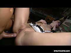 They fuck this chick in her asshole and mouth simultaneously and she loves this threesome sex with horny soldiers. Then they cum in her mouth and she swallows sperm in Private xxx video!