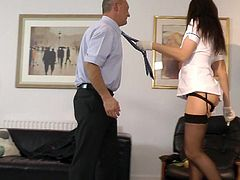 Needy mature lady in black stockings gets ravaged in alluring hardcore fuck session