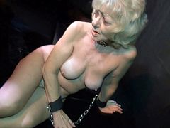 Watch this crazy perverted jerk who decided do some experiemtn with naked and horny granny in his laborotary in Old Nanny sex clips.