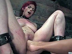 Kinky redhead girl licks her mistress' pussy and then gets toyed with a vibrator. In addition Sandra shoves her toes in Rozen's pussy and toys her vagina with a strap-on.