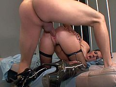 Tall prisoner Mark Ashely didnt see woman in months. Today he has awesome visitor from dreams. Busty stunner Rebeca Lineares in boots and stockings only gets demolished in his cell.