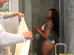 Watch this sexy babe taking shower in her friend's shower getting fucked by him from behind in her wet and tight pussy in Reality Kings sex clips.