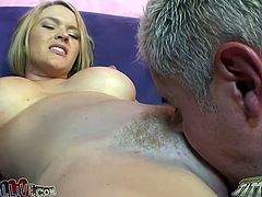 Blonde chick lies on a sofa toying her vagina with a vibrator. Then she gets her pink pussy licked by Porno Dan. She also gets toyed with a fucking machine.