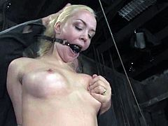 Sexy blonde girl gets tied up and humiliated by her Master. She gets her its twisted and pussy toyed. Then she also gives a handjob to the Master.