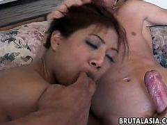 Lyla Lei is a super horny asian chick and one cock is never enough for her. Watch her getting rammed from behind while she is deepthroating another big dong.