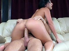 Passionate Latina stands on her knees and gets face fucked. Later on she lies down on a sofa and gets her hot ass fucked deep.