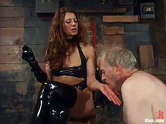 Kym Wilde is having fun with Robert Alan in a cellar. She beats the dude's ass and then tortures and humiliates him in many ways.
