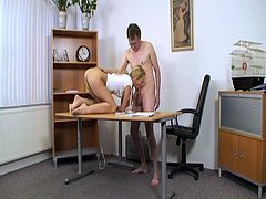 This beautiful young blondie gets fucked by her old professor. Watch as this old pervert hammers that young tight pussy like a savage and makes her scream really loud!
