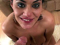 Brunette deepthroats one large cock