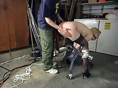 She has to be fucking loyal to her master and babe does everything he tells her! He ties her up with belts and penetrates her twat with a dildo. Then...