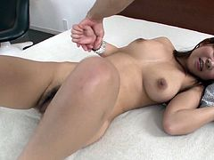 Lovely Japanese kitty with huge natural tits gets fully naked and gets her soaking wet hairy snapper finger fucked by one kinky dude. Check out her big boobies and her bearded cnatch in action!